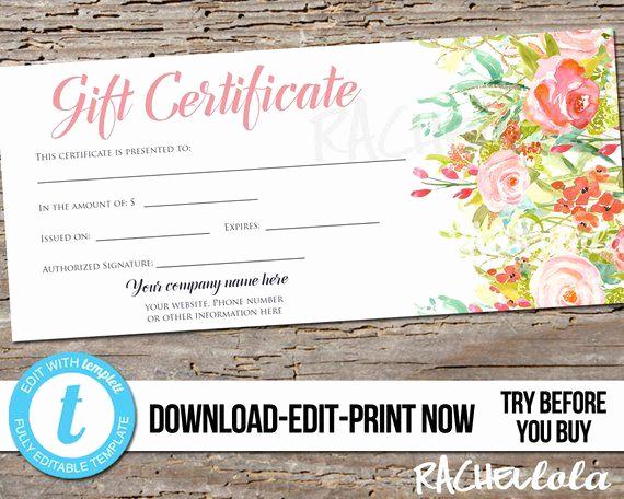 Custom Gift Certificate Template Fresh Editable Custom Printable Gift Certificate Template