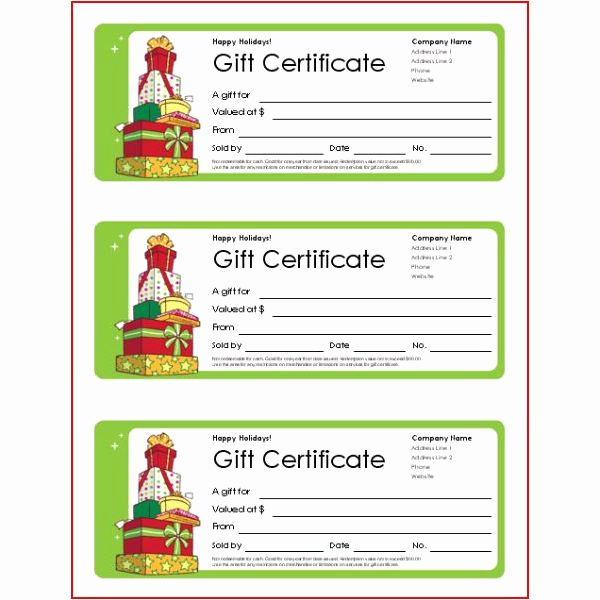 Custom Gift Certificate Template Inspirational Christmas Gift Templates Free and Easy Options