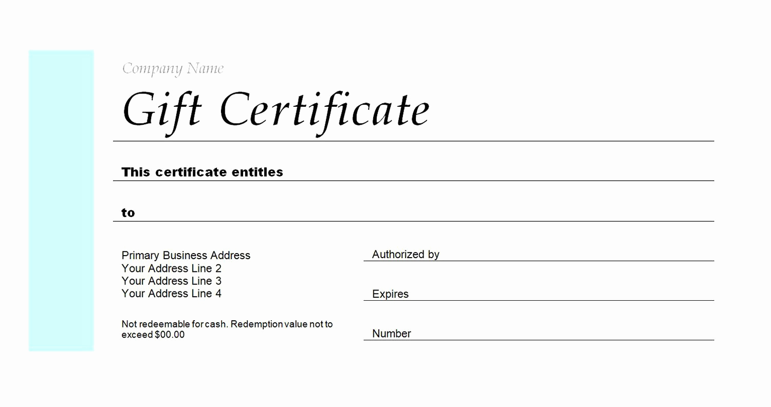 Custom Gift Certificate Template New Gift Certificate Make Your Own