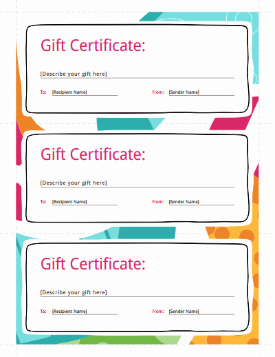 Customizable Gift Certificate Template Awesome Gift Certificate Template Free Download Create Fill