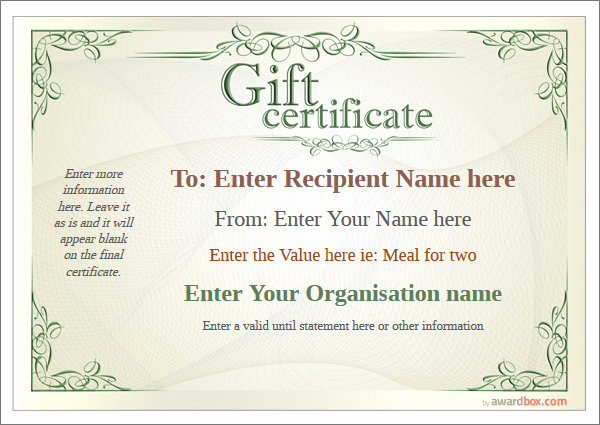 Customizable Gift Certificate Template Best Of Gift Certificate Free High Quality Templates