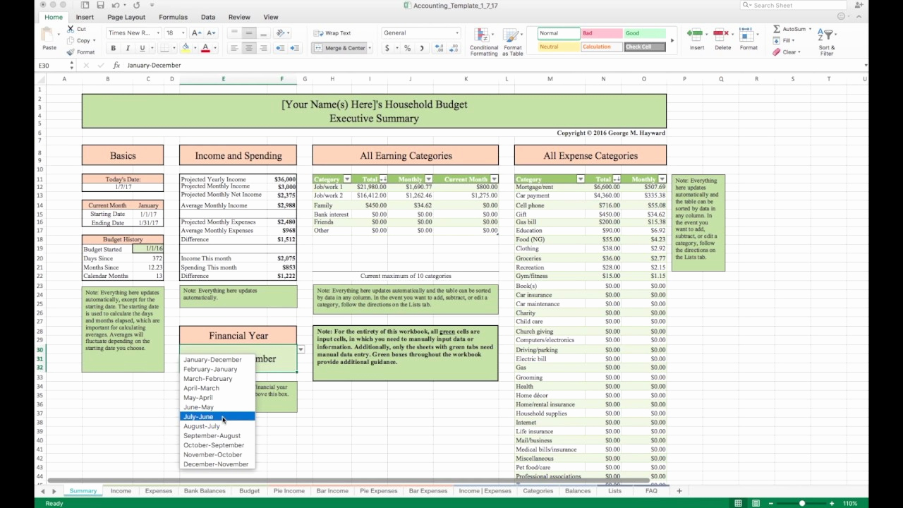 Daily Budget Template Excel Inspirational Household Bud Template and Tutorial Excel