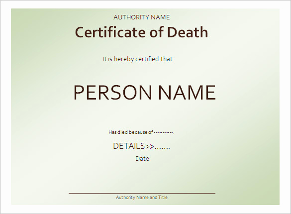 Death Certificate Template Word Lovely Death Certificate formats