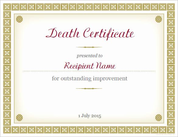 Death Certificate Template Word Unique Sample Death Certificate Template – 11 Free Word Pdf