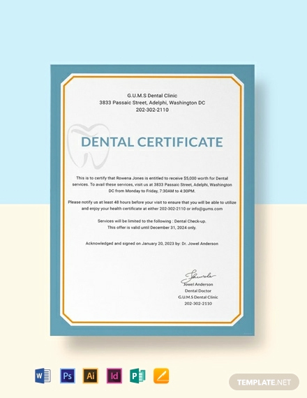 Dental Gift Certificate Template Elegant 18 Free Medical Certificate Templates Word