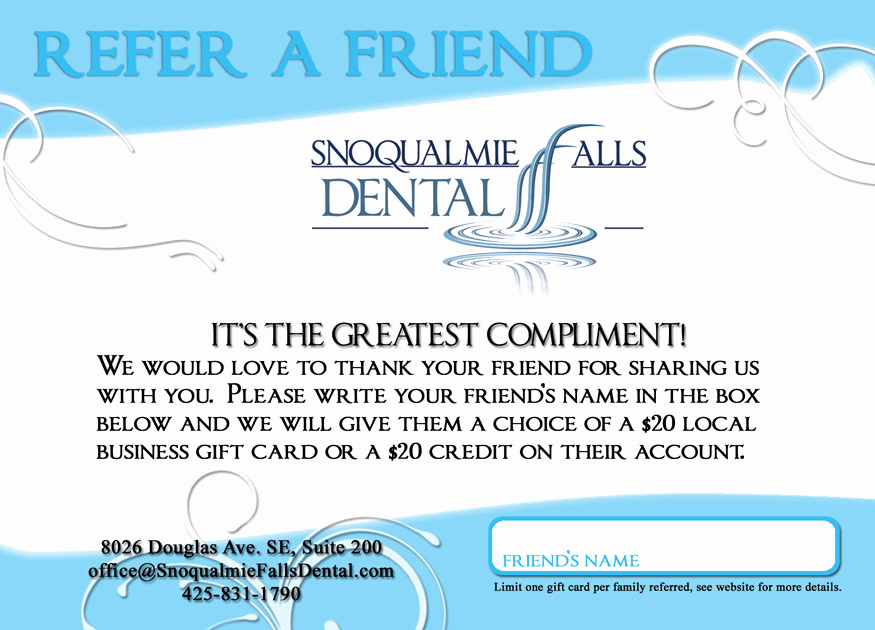 "Dental Gift Certificate Template Luxury Snoqualmie Dentist Fice New ""refer A Friend"" Card"