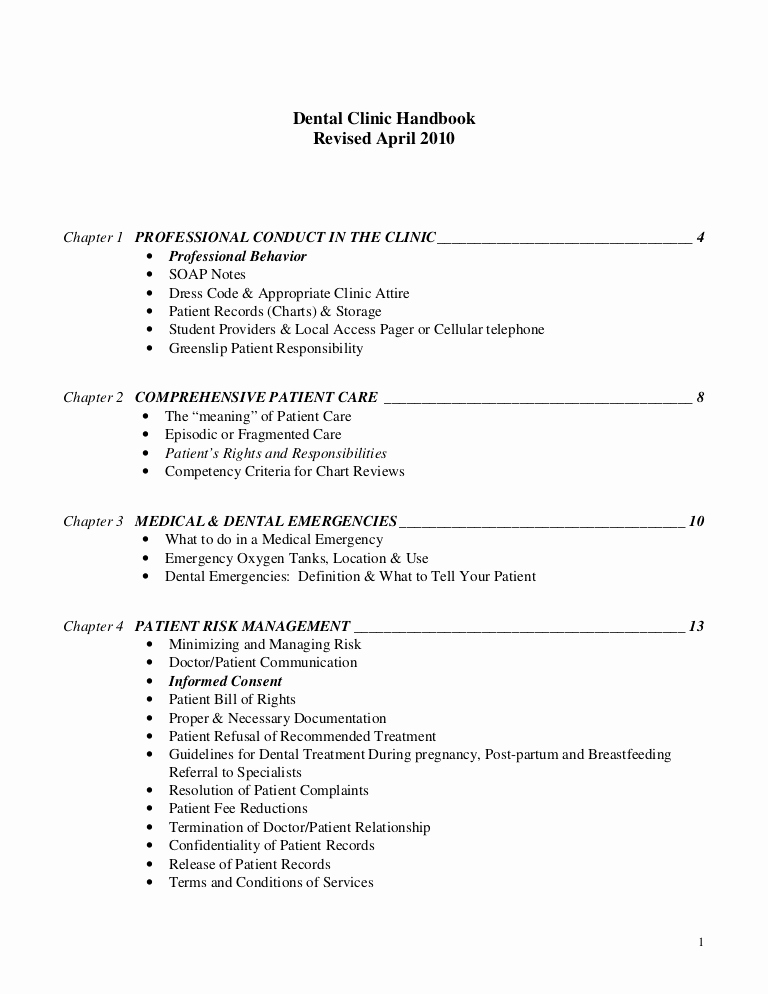 Dental Treatment Notes Template New Dental Clinic Handbook Revised April 2010