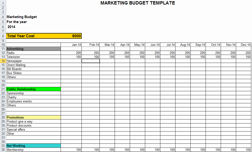 Department Budget Template Excel Beautiful Marketing Bud Template In Excel