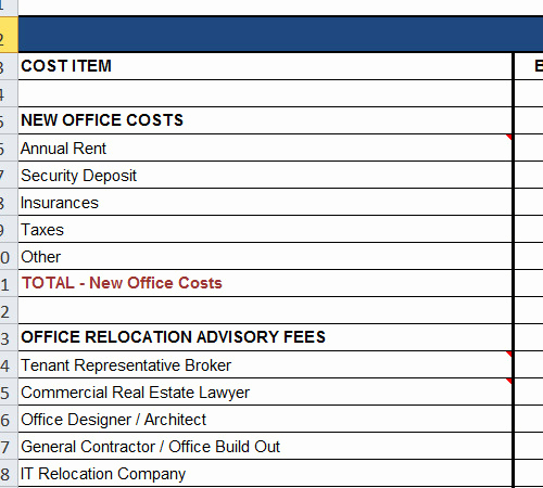 Department Budget Template Excel Elegant Fice Relocation Bud Spreadsheet Template
