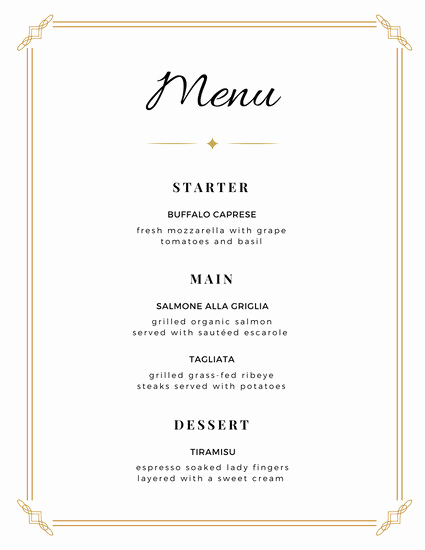 Dinner Menu Template Free Fresh Blank Fancy Menu Template Free Download Aashe
