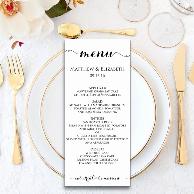 Dinner Menu Template Free Fresh Wedding Menu Wedding Menu Template Menu Cards Menu