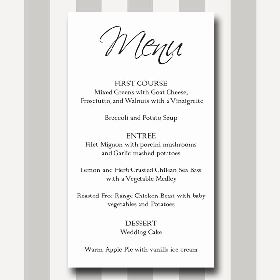 Dinner Menu Template Free Inspirational Items Similar to Menu Card Diy Printable Template