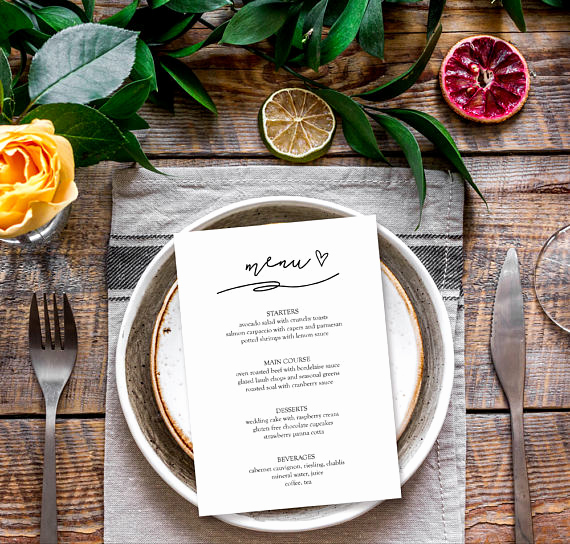 Dinner Menu Template Free Inspirational Menu Template Elegant Dinner Party Menu Template Bridal