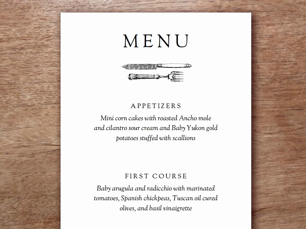 Dinner Menu Template Free Inspirational This Printable Menu Template Uses A Simple Vintage Element