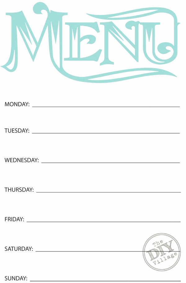 Dinner Menu Template Free Lovely Free Printable Weekly Menu Planners the Diy Village