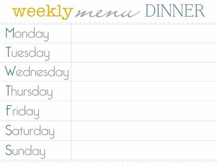 Dinner Menu Template Free Lovely Weekly Supper Menu Planner