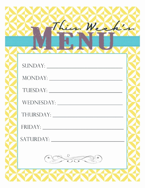 Dinner Menu Template Free Luxury 20 Free Menu Planner Printables