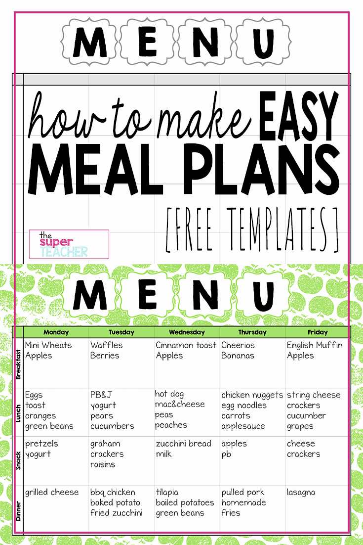 Dinner Menu Template Free Unique Make Easy Meal Plans with This Free Weekly Template the