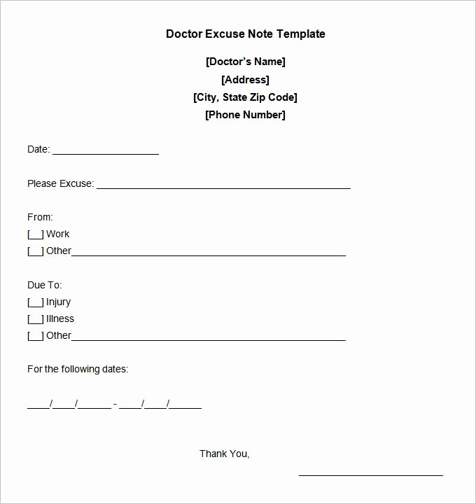 Doctor Excuse Note Template Beautiful Doctor Excuse Note