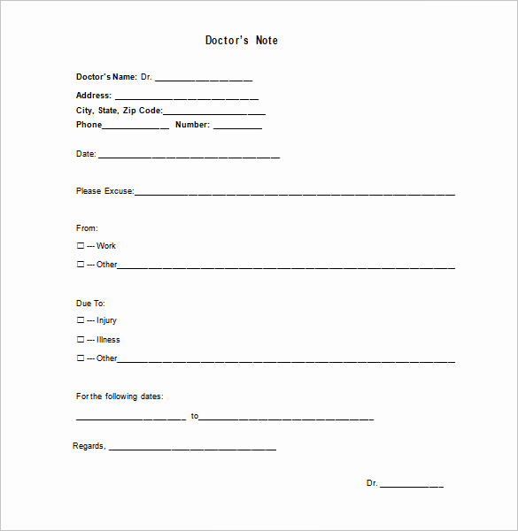 Doctor Excuse Note Template Beautiful Medical Doctor Note Template 13 Free Sample Example