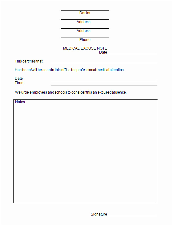 Doctor Excuse Note Template Best Of Doctors Excuse Template