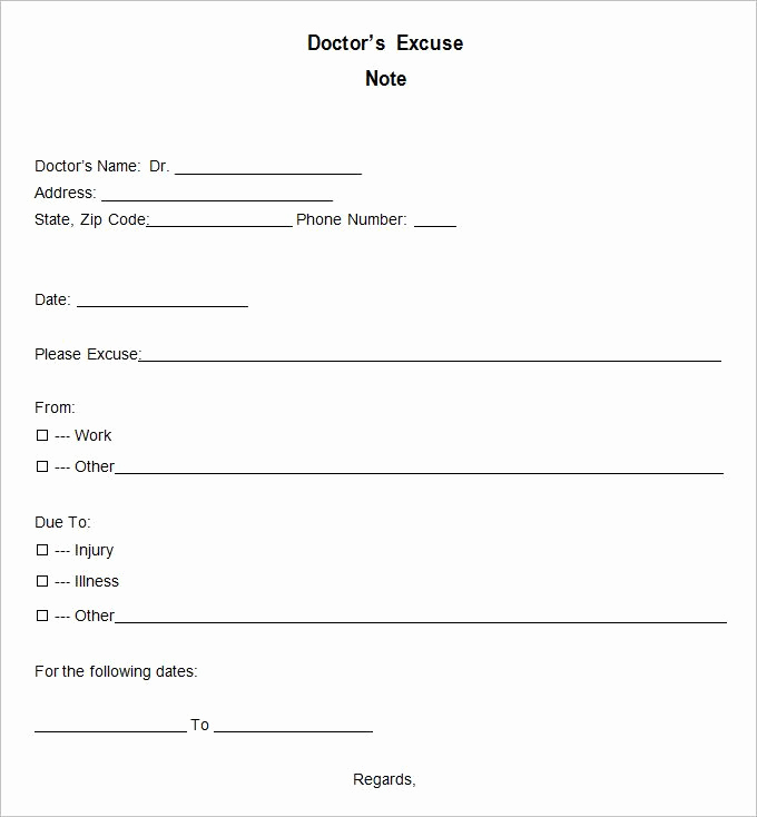 Doctor Excuse Note Template Fresh Free Fill In the Blank Doctors Note