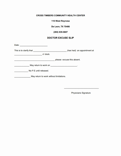 Doctor Note Template for Work Awesome Doctors Note for Work Template