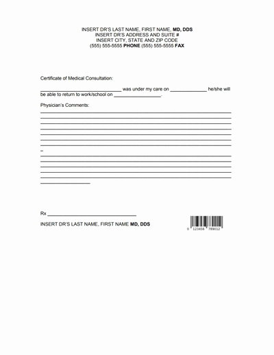 Doctor Note Template for Work Best Of Doctors Note for Work Template