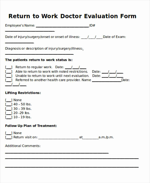 Doctor Note Template for Work Elegant Return to Work Doctors Note Template