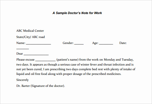 Doctor Note Template for Work Lovely 22 Doctors Note Templates Free Sample Example format
