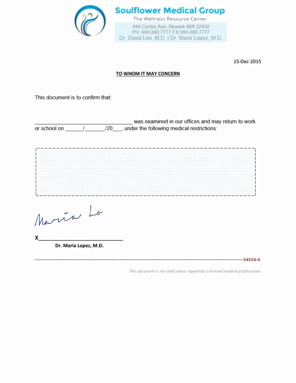 Doctor Note Template for Work Unique Fake Doctors Note