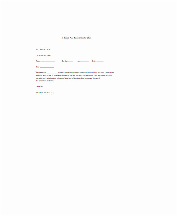 Doctor Note Template Free Download Elegant Doctor Note Template 6 Free Sample Example format
