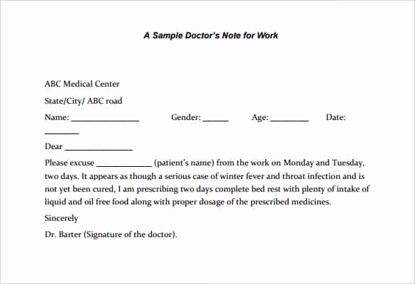 Doctor Note Template Pdf Best Of 6 Printable Doctor S Note for Work Templates Pdf Word