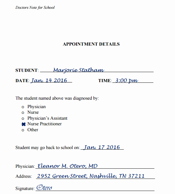 Doctors Note for School Template Fresh 8 Doctors Note Samples for Appointments Work or School