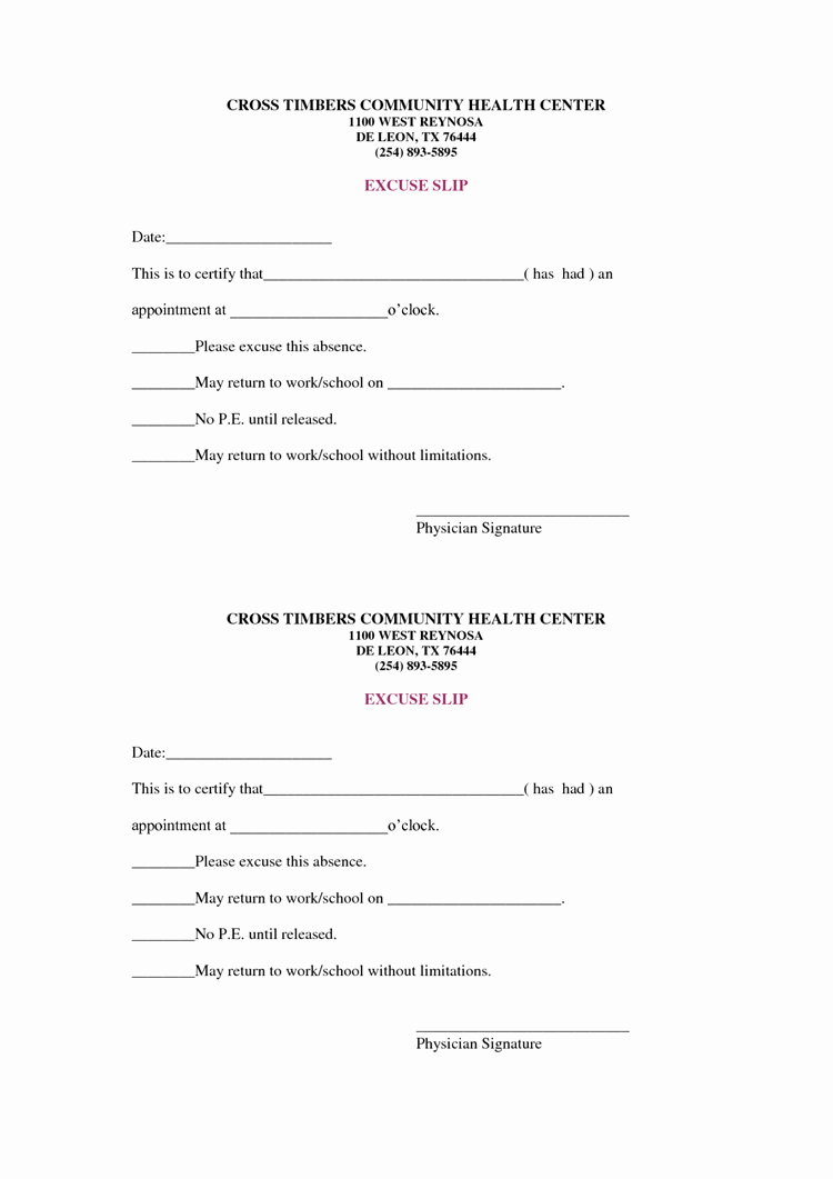 Doctors Note for School Template Unique 36 Free Fill In Blank Doctors Note Templates for Work