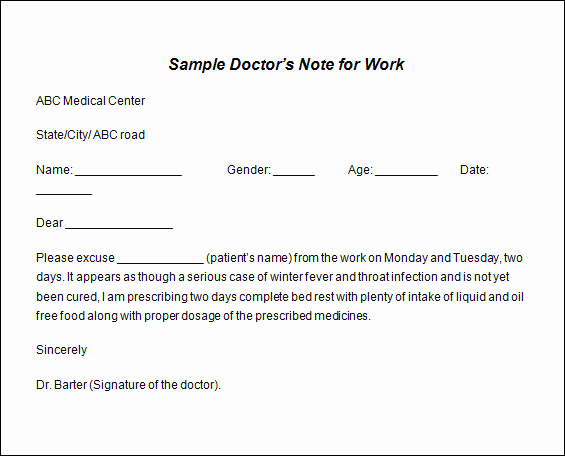Doctors Note for Work Template Elegant 12 Printable Fake Doctors Excuse Slips