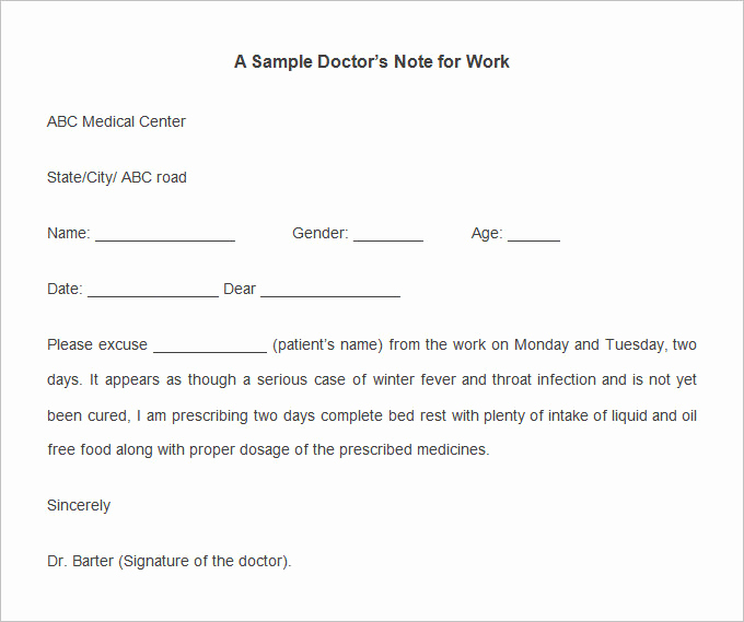 Doctors Note Template Download Free Luxury Doctors Note Template 9 Free Sample Example format