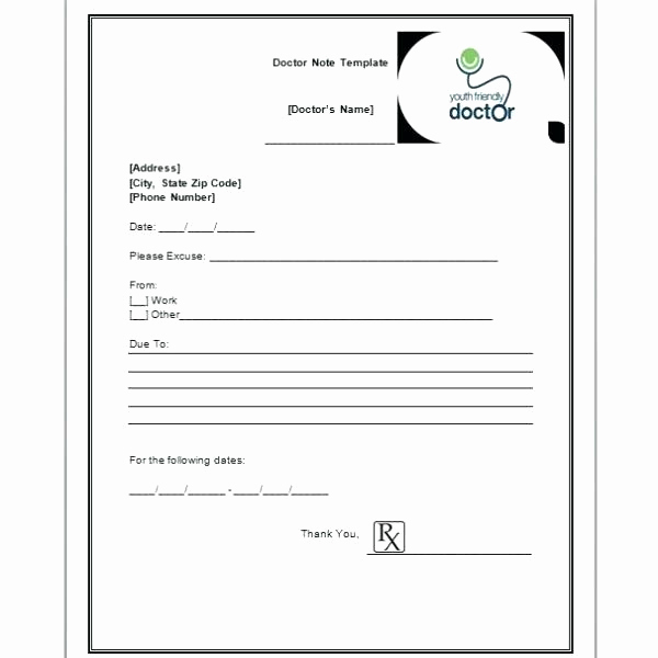 Doctors Note Template Free Beautiful Fake Doctors Note Template for Work or School Pdf