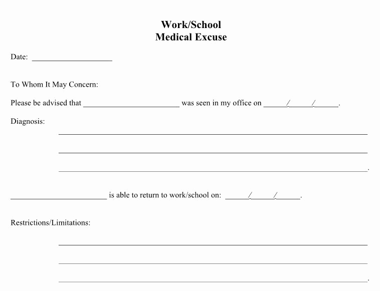 Doctors Note Template Free Download Best Of Doctors Excuse for Work From Hospital – Printable Year