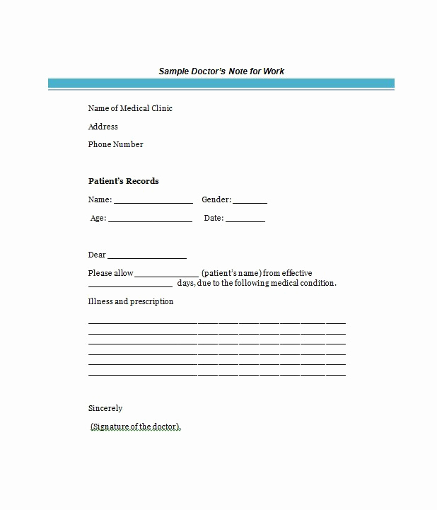 Doctors Note Template Free Lovely 25 Free Doctor Note Excuse Templates Templatelab