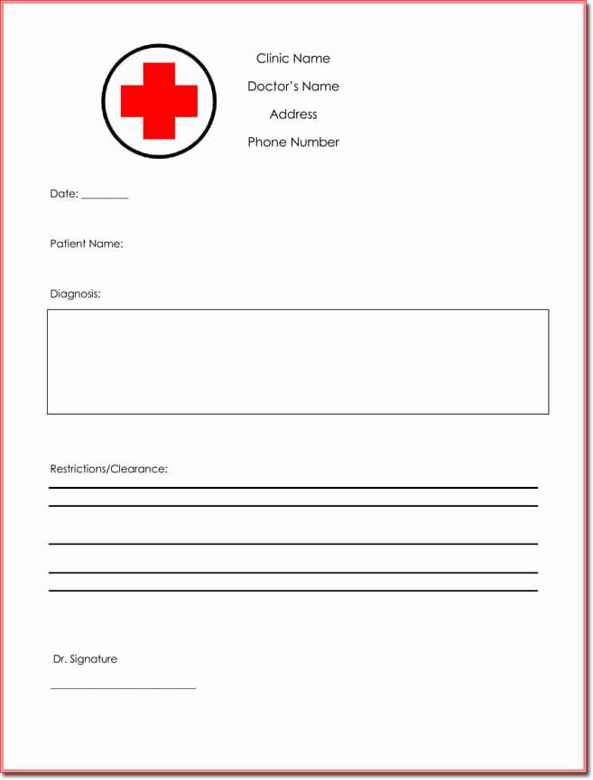 Doctors Note Template Word New Doctor S Note Templates 28 Blank formats to Create