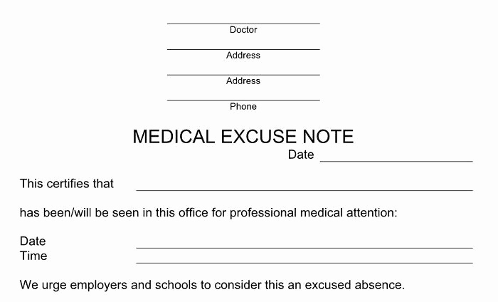 Doctors Notes for School Template Awesome 25 Free Doctor Note Excuse Templates