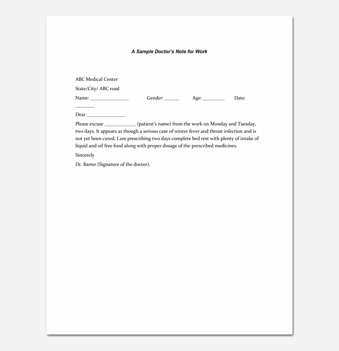Doctors Notes for Work Template Awesome Doctors Note Template 7 Fillable Notes for Word & Pdf