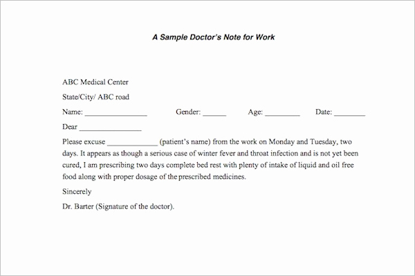 Doctors Notes for Work Template Elegant 37 Doctors Note Template Free Pdf Word Examples