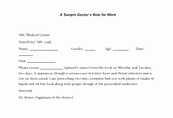 Doctors Notes for Work Template New Fake Doctors Note Template for Work or School Pdf
