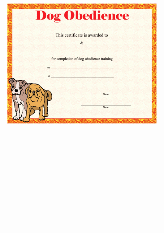 Dog Training Certificate Template Awesome Dog Obe Nce Certificate Printable Pdf