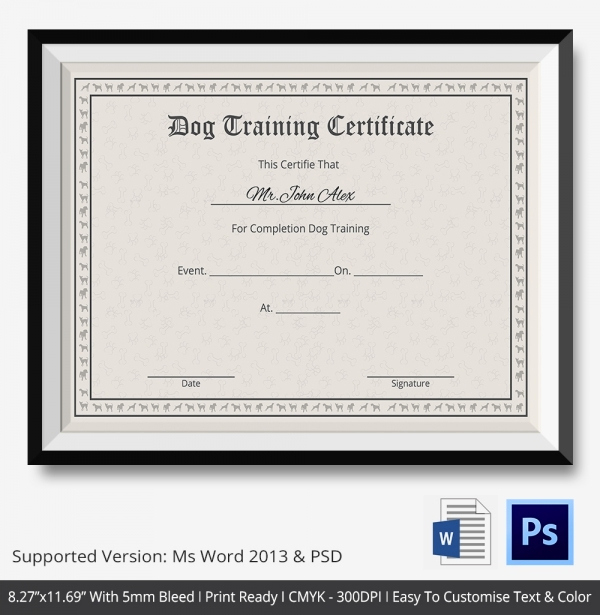 Dog Training Certificate Template Awesome Training Certificate Template 21 Free Word Pdf Psd