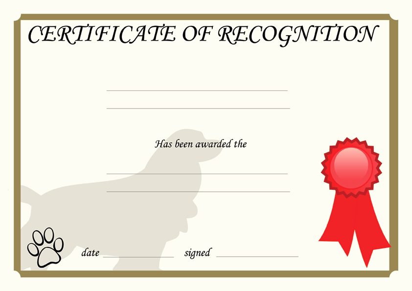 Dog Training Certificate Template Beautiful Dogs Awards Ribbon Design Template Certificate