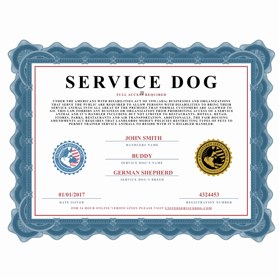 Dog Training Certificate Template Beautiful Service Dog Certificate