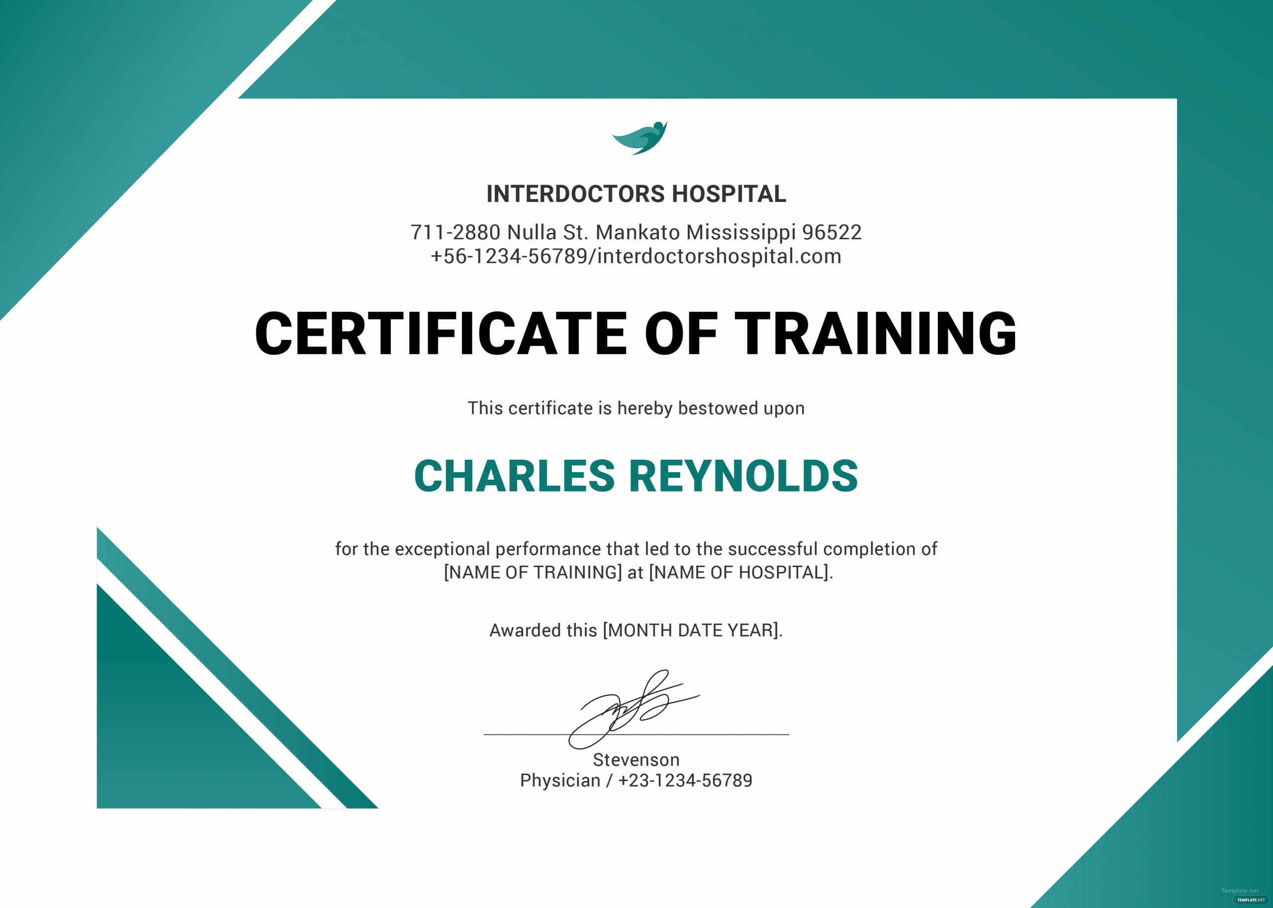 Dog Training Certificate Template Best Of Free Hospital Training Certificate Template In Microsoft